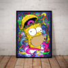 Incrivel quadro decorativo simpsons homer psicodelico 42x29cm