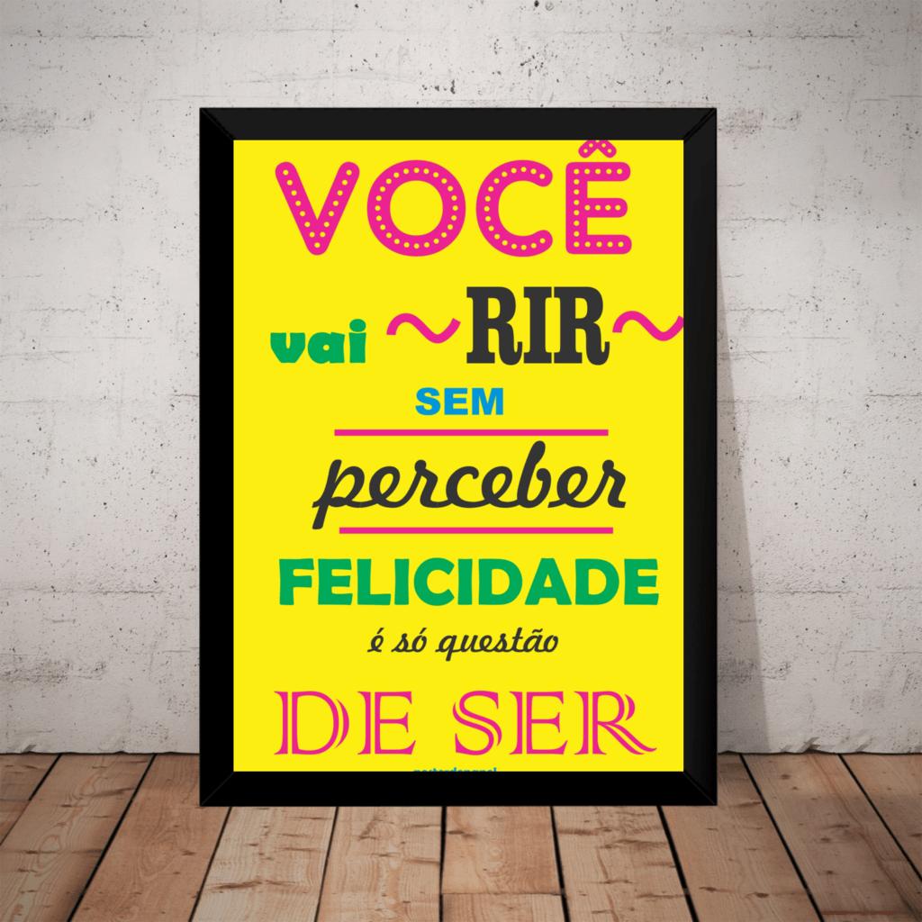 Lindo Quadro Arte Tipografica Motivacional Sorria 42x29cm