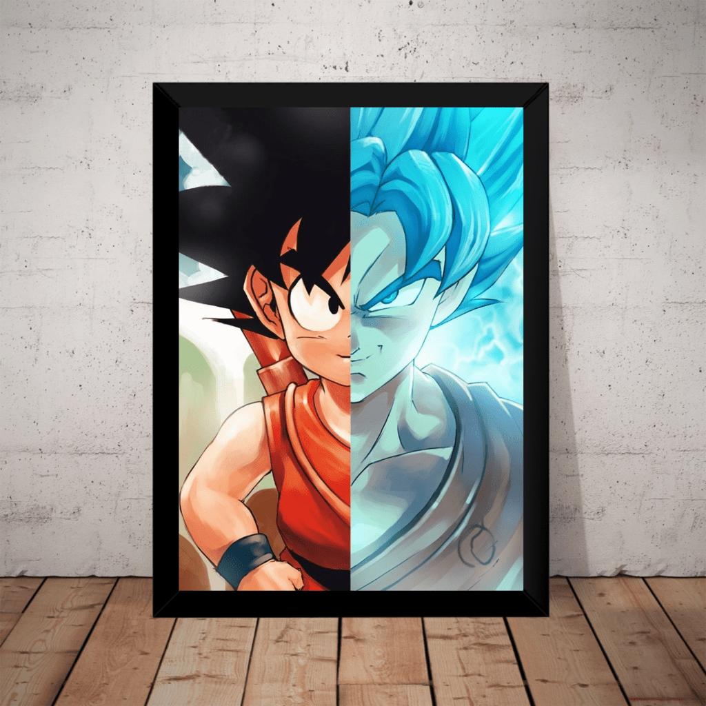 Quadro Art Dragon Ball Super Goku Pequeno Split Sayajin Blue