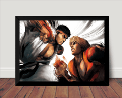 Quadro Game Arte Street Fighter Ken Vs Ryu
