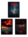 Kit 3 Quadros Stranger Things Posters Temporadas Moldurados