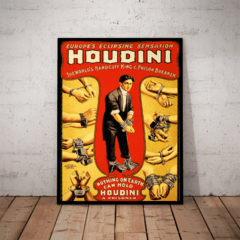 Quadro Decorativo Harry Houdini Arte Cartaz Moldurado