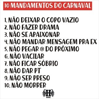 Camiseta - 10 mandamentos do Carnaval na internet