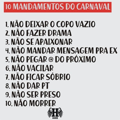 Camiseta - 10 mandamentos do Carnaval