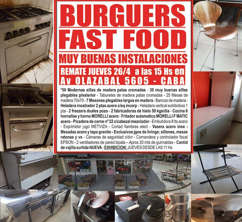 remate gastronomico burguers y fast food