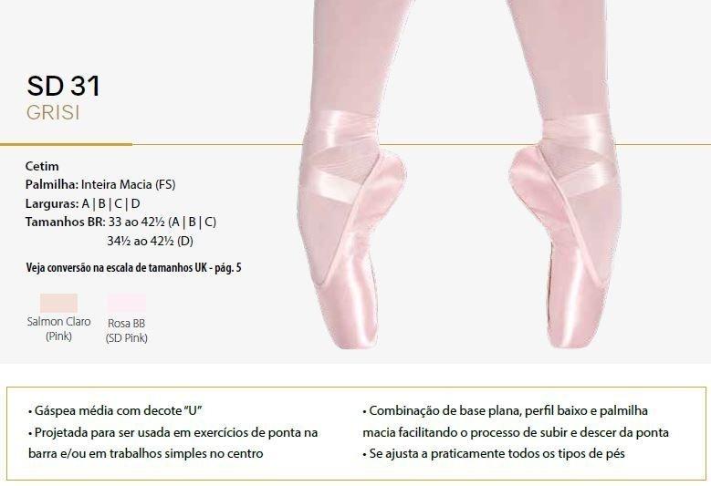 27ebfd9420 SAPATILHA DE PONTA GRISI SD 31 SÓ DANÇA