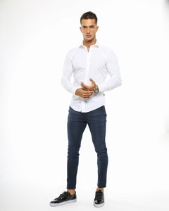 Camisa Lisa Slim Fit Blanca 3140 en internet