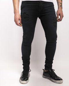 Jean Spender Dark Ripped con Roturas Negro Gastado 5327