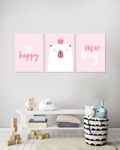 Triptico Be Happy pink