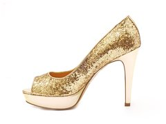 Stiletto Peep Toe Oro en internet