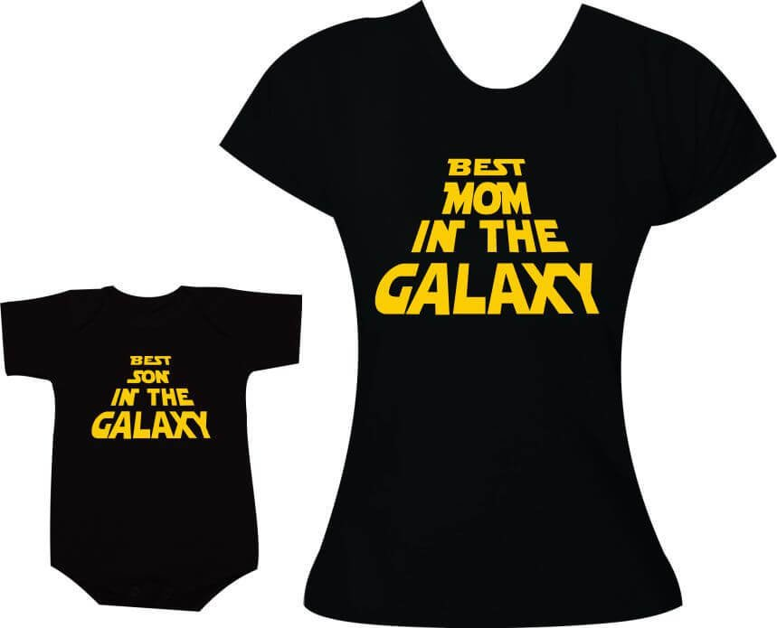 6d584f0bf5d9bf Camisetas Tal mãe tal filho Best Mom in the Galaxy / Best Son in the Galaxy