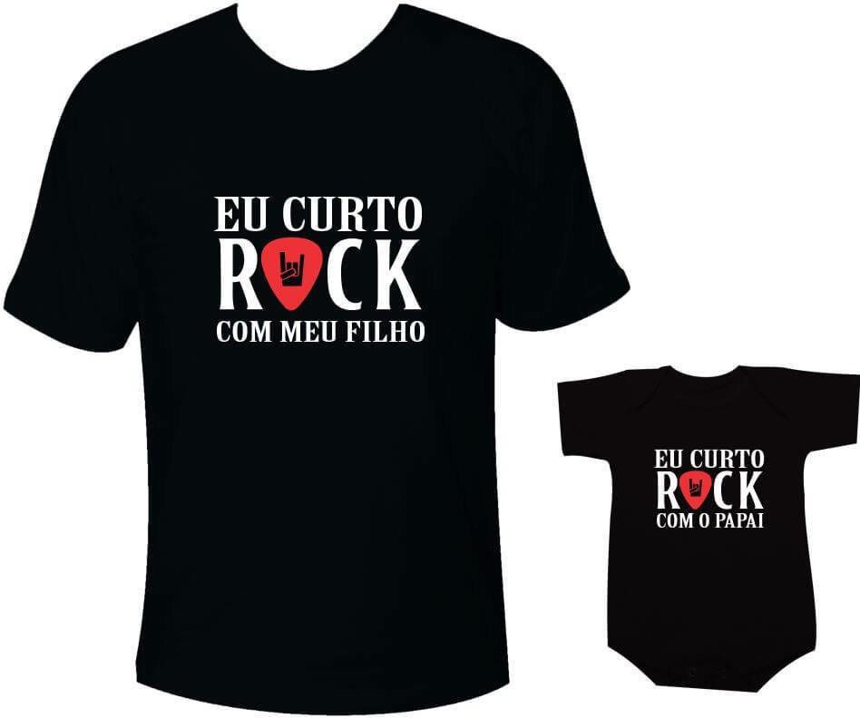 006d46313e96 Camisetas Tal pai tal filho Eu curto rock com meu filho / Eu curto rock com  o papai