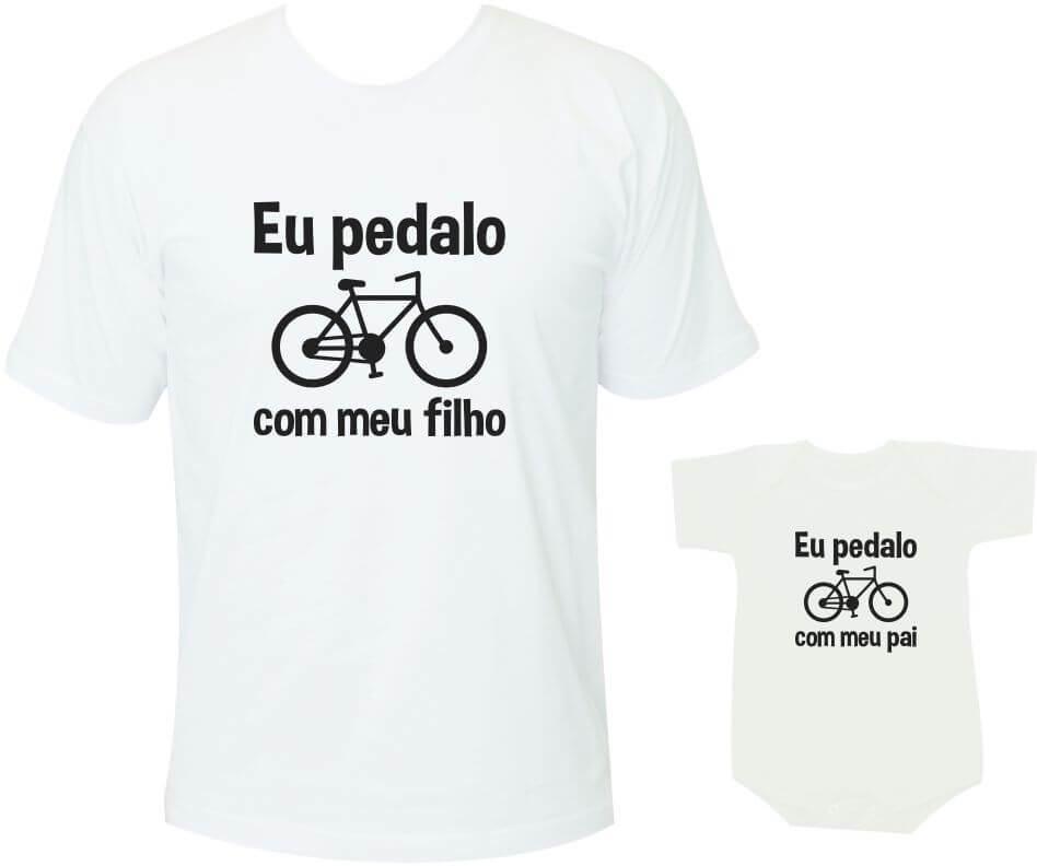 860689183 Camisetas Tal pai tal filho Eu pedalo com meu filho / Eu pedalo com meu pai