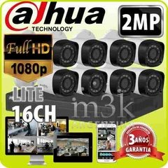Kit Seguridad Dvr 16 + 8 Camaras Full Hd 1080p 2mp Dahua Ext