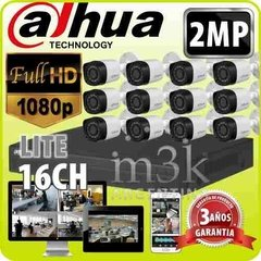 Kit Seguridad Dahua Dvr 16 + 12 Camaras Full Hd 1080 2mp Ext