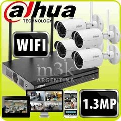Kit Ip Seguridad Dahua Nvr Wifi 4 Camaras 1.3mp Inalambrico