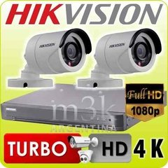 Kit Seguridad Hikvision 1080p Dvr 4ch + 2 Camaras 1mp Hd Ext
