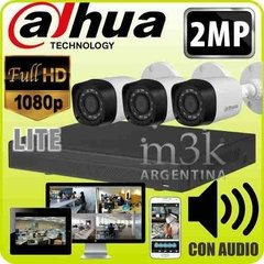 Kit Seguridad Dahua Dvr 4 + 3 Camaras 2mp 1080p Exterior