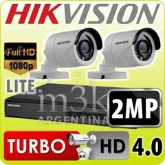 Kit Seguridad Hikvision Dvr 4 Ch + 2 Camaras Full Hd 2mp Ext