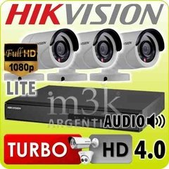 Kit Seguridad Hikvision Dvr 4 + 3 Camaras Hd Exterior Ip 66
