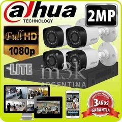 Kit Seguridad Dahua Dvr 4 + 4 Camaras Ir Full Hd 1080p 2 Mp