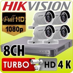 Kit Seguridad Hikvision 1080p Dvr 8 Ch + 4 Camaras 1mp Ext