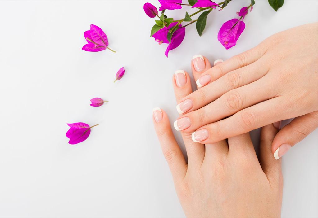 Mãos e pétalas de flores
