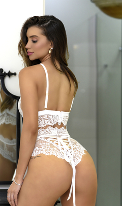 CONJUNTO ILLUSION ELEGÂNCIA WHITE C/ CALCINHA HOT PANT - buy online