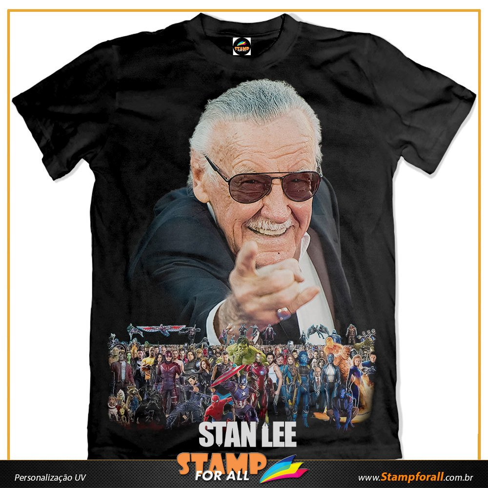 3a57964301 Camiseta Stan Lee Marvel Comic Vingadores Stamp For All 0033