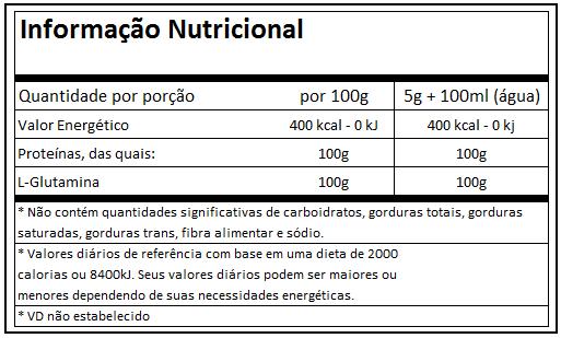 76fc1f4c2 Ingredientes  L-Glutamina. Não Contém Glúten.