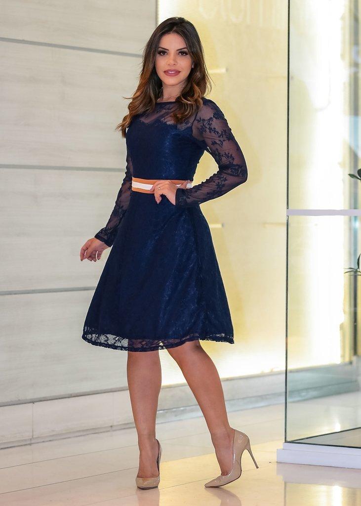 3e3a799d9 Vestido Renda Godê Azul com Faixa na Cintura