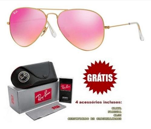 0c3c24bd3 Óculos Ray ban Aviador Rosê Espelhado Lentes de Cristal