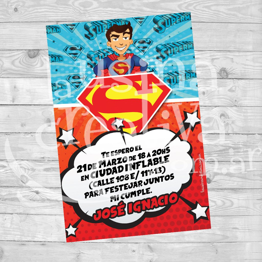 Invitación De Cumple Superman La Usina Creativa