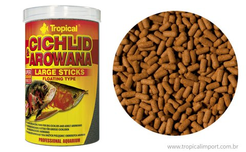 Ração Tropical Cichlid  Arowana Large Sticks 75grs