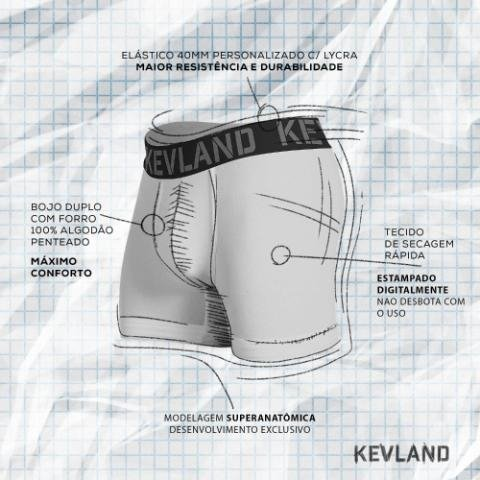 Cueca Boxer Kevland Gold Flowers