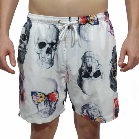 Short Kevland Colored Skulls Branca
