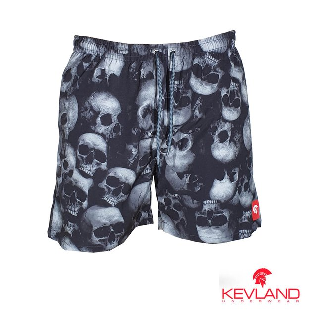 Short Kevland Black and White Skull