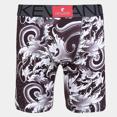 Cueca Boxer Long Leg Kevland Black Waves