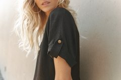 Blusa con Sardineta ALICIA - TOTAL BLACK en internet