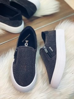 1285 Slip On Quiz Lurex Preto