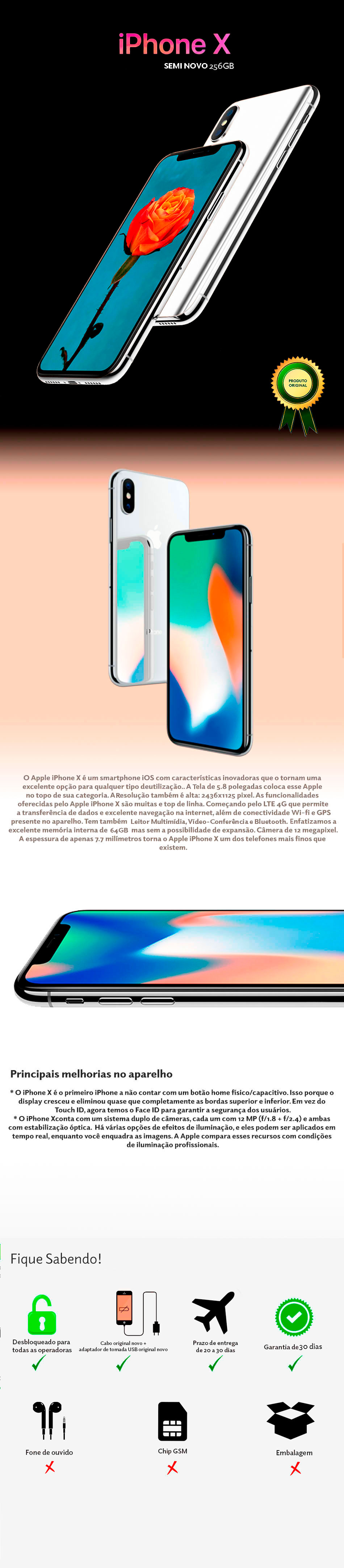 iPhone x 256GB Semi Novo