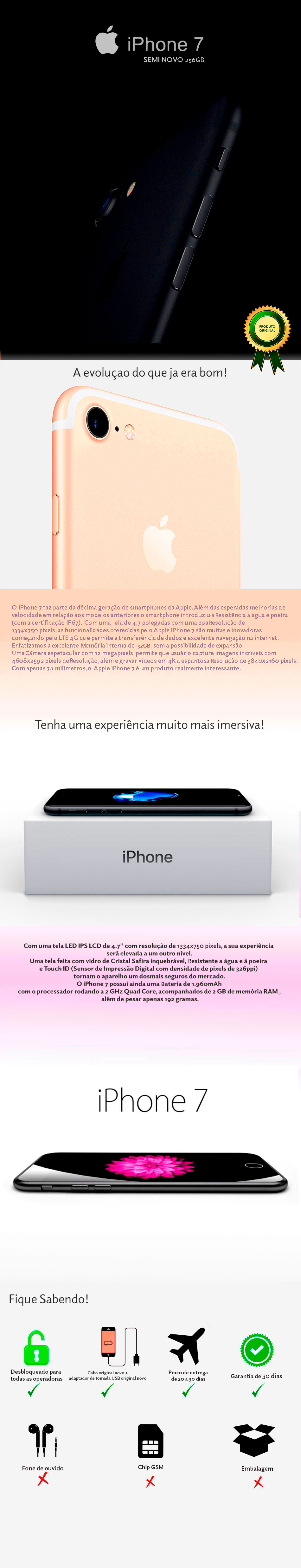 iPhone 7 256GB Semi Novo