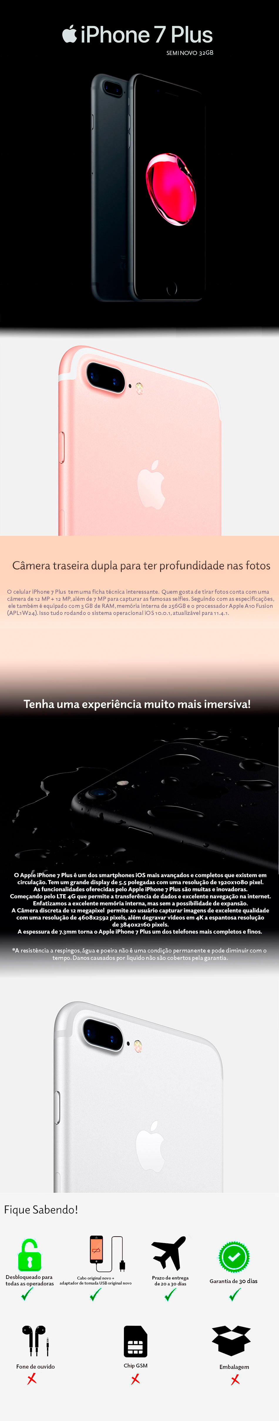 iPhone 7 Plus 32GB Semi Novo