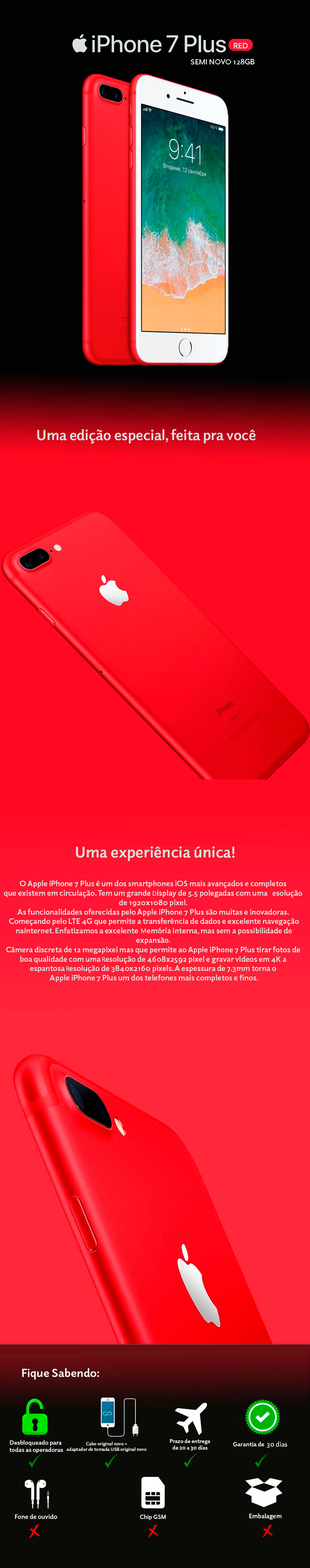 iPhone 7 Plus RED 128GB  Semi Novo