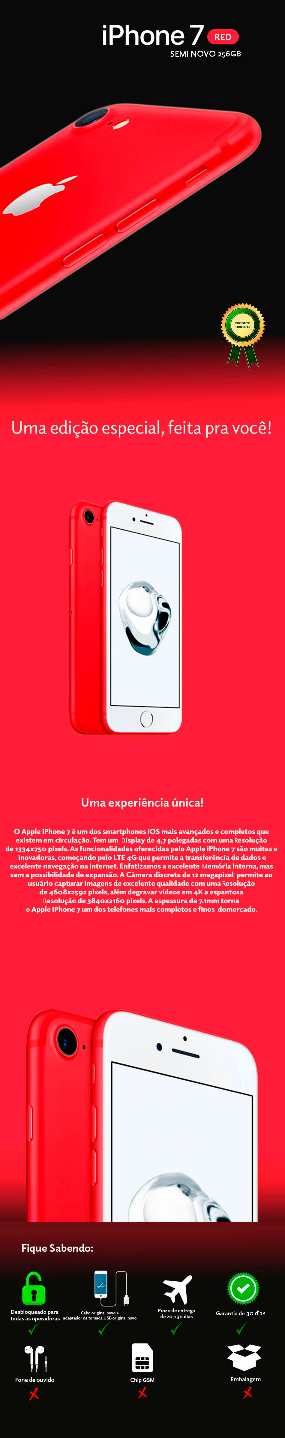 iPhone 7 Red 256GB Semi Novo