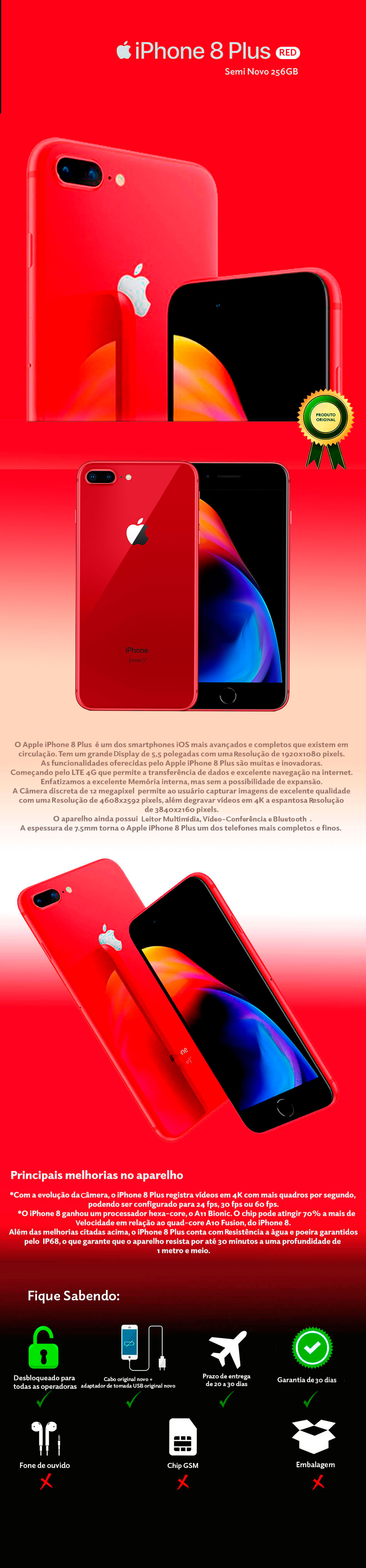 iPhone 8 Plus RED 256GB Semi Novo