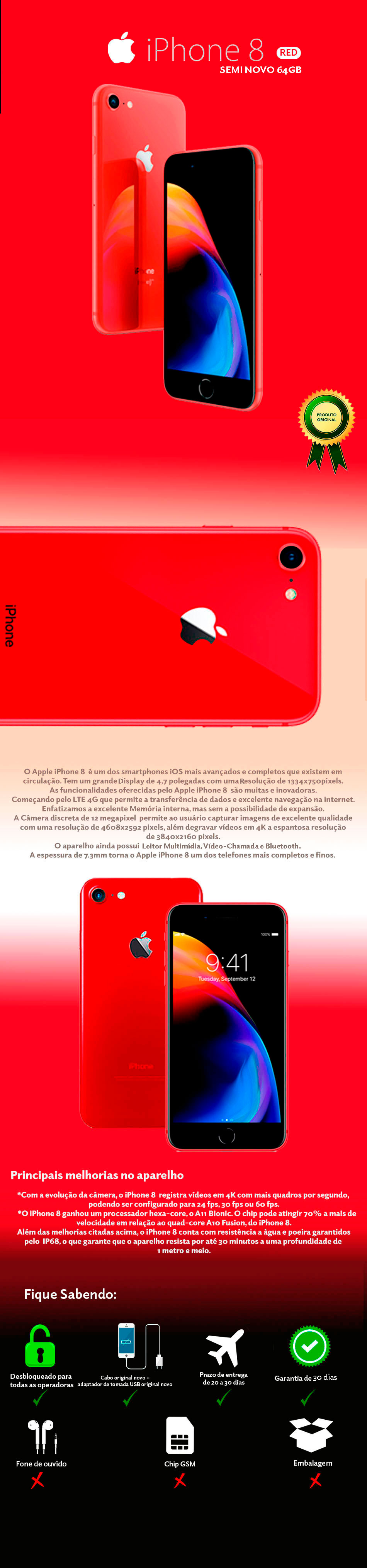 iPhone 8 RED 64GB Semi Novo