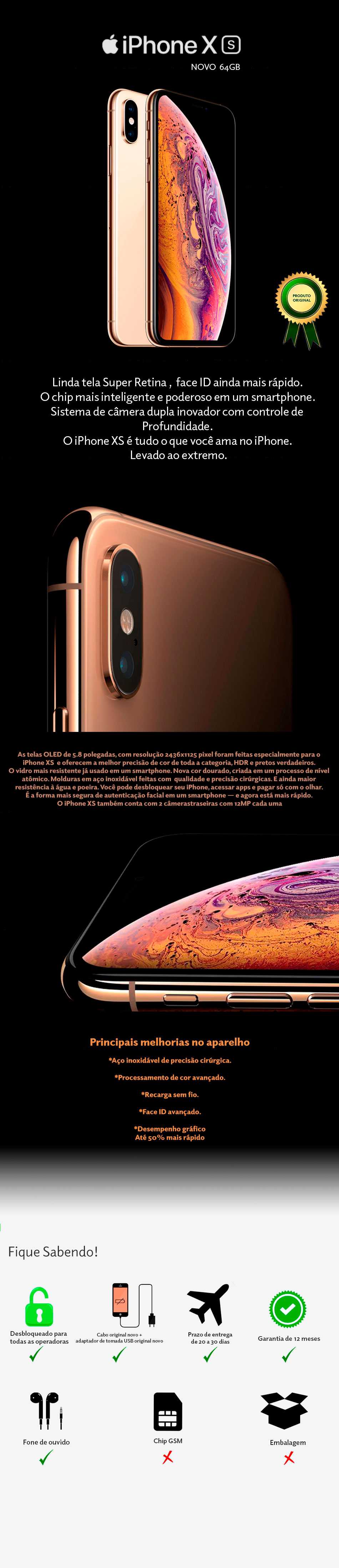 iPhone XS 64GB Novo