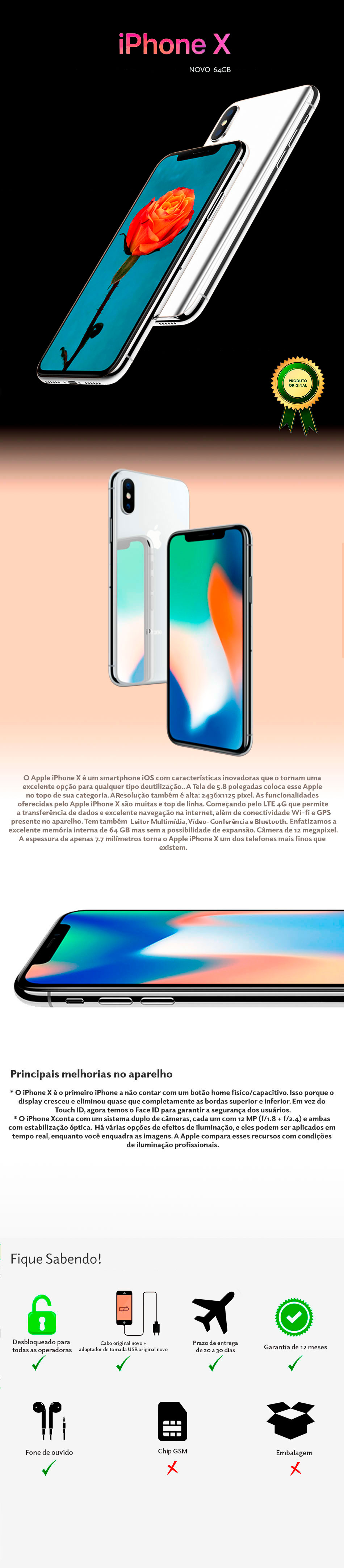 iPhone X 64GB Novo
