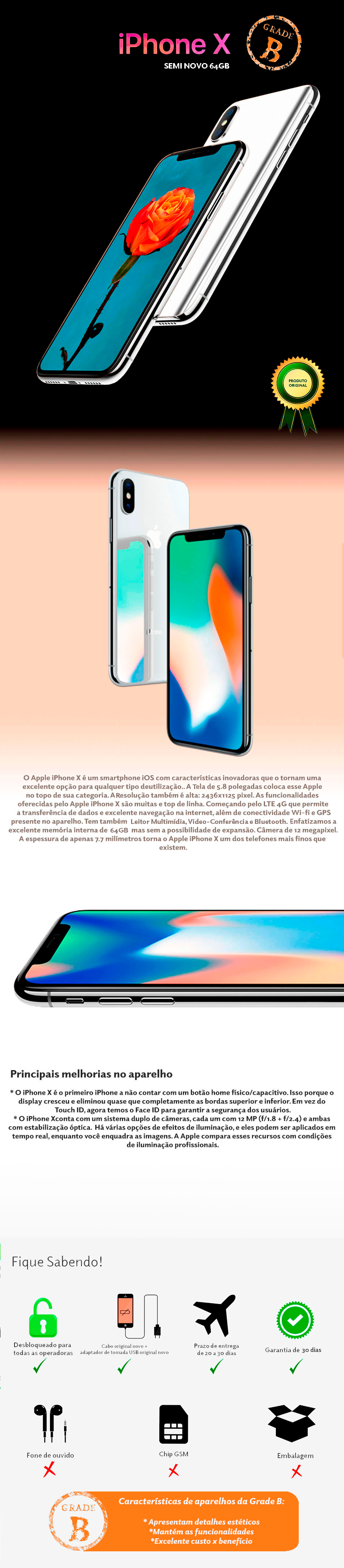 iPhone X 64GB Semi Novo